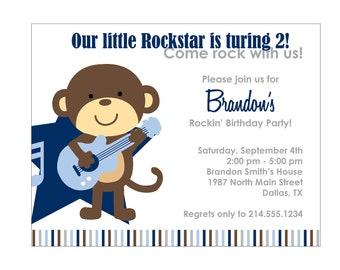 60 Rockstar Monkey Baby Shower Invitation or Birthday Invitation Cards (Printable file available)