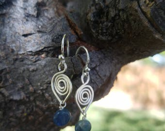 Sterling silver swirl drop earrings