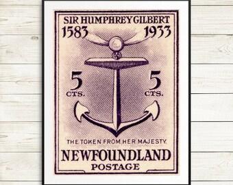 Newfoundland poster, nautical posters, nautical art, ships anchor print, ship anchor art, nautical anchor art prints, newfoundland canada