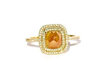 18K Cushion Cut Fancy Yellow Diamond Double Row Diamond Solitaire Ring