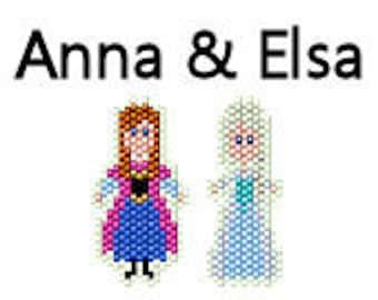 Disney Frozen Inspired Brick Stitch Earring Pattern Disney Frozen Anna and Elsa Sisters Seed Bead Delica Pattern
