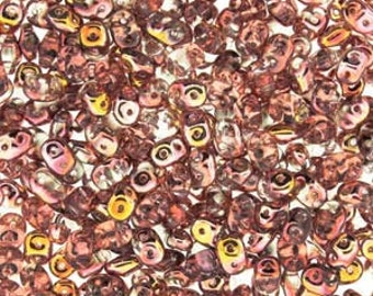 CRYSTAL CAPRI GOLD SuperDuo Czech Glass Seed Beads, 10 Grams, Two Hole 2.5 x 5mm