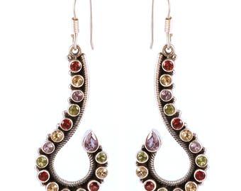 Multi stone 92.5 sterling silver earring