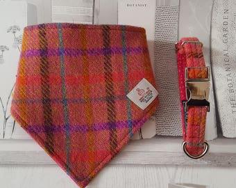 Dog Bandana in Harris Tweed Pink & Purple with Quick Release Popper Closure, Dog Neckerchief