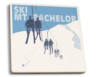 Ski Mt Bachelor, OR - Ski Lifts - LP Artwork (Set of 4 Ceramic Coasters)
