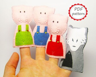 Felt finger puppets PATTERN Three Little Pigs Wolf set PDF sewing tutorial instructions Handmade cute soft animal toys DIY- Instant Dawnload