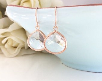 Rose gold earrings gifts for her bridesmaid gift girlfriend gifts birthday gift, bridesmaid earrings, gifts for sisters, rose gold wedding