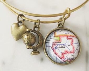 Gabon Map Charm Bracelet - Libreville - West Africa - Travel - Wanderlust