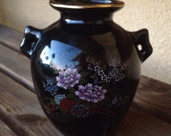 Japanese Vase, Flower Blossoms Vase, Floral Japanese Vase, Black Porcelain Vase, Japan Black Floral Vase, Japanese Decor, Asian Decor