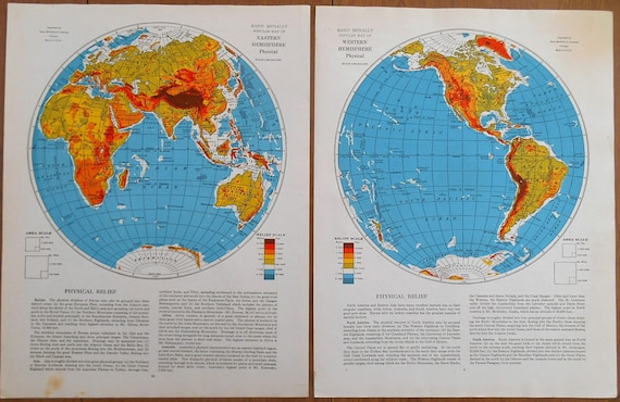 World maps eastern and western hemisphere maps set of 2 world maps eastern and western hemisphere maps set of 2 vintage 1930s old atlas maps for wall art decor gumiabroncs Image collections