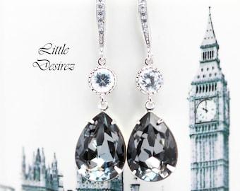 Dark Grey Earrings Smoky Grey Earrings Charcoal Earrings Swarovski Crystal Silver Night Black Diamond Earrings Bridesmaid Earrings SN31HC