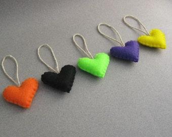 5 Halloween Felt Heart Ornaments spooky and cute Eco Friendly TeamEcoEtsy