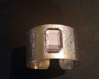 Silver Textured Cuff Bracelet Costume Jewelry