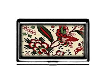 Business Card holder Case Jacobean RED Flowers Credit Card Holder stainless steel metal card case metal wallet Wife Gift