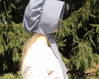 sz 12/14 girl's Navy/White Gingham Pioneer/Frontier Sun bonnets -old fashioned hats- Little House on the Prairie  READY-TO-SHIP