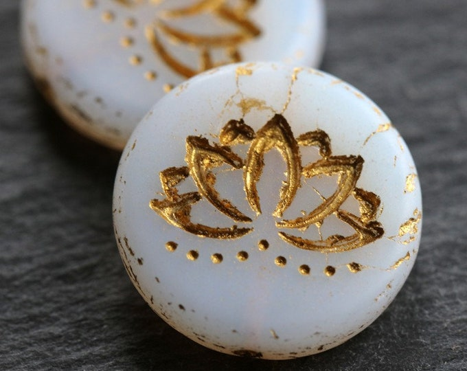 GOLDEN ALABASTER LOTUS .. New 2 Picasso Czech Matte Glass Lotus Coin Beads 18mm (6333-2)