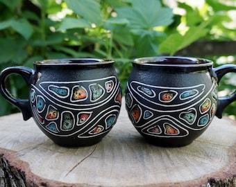 Birthday gifts-for-mom Mug set Tea cup Stones Farmhouse mugs Ceramic mug Gift set Ceramics and pottery Cappuccino cup Chef Hostess gift