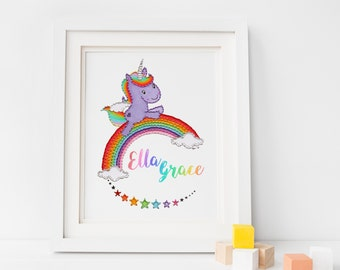 Personalised Rainbow Unicorn Print – Nursery Decor – Gifts for her – Rainbow nursery – Rainbow print – Unicorns – A4/A5 Illustration