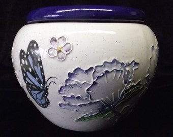Handmade African Violet Pot Oriental Poppies and Butterflies