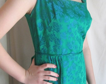 Vintage Green Floral Brocade Gown