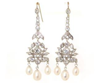 Art Deco Pearl Earrings Vintage Bride Wedding