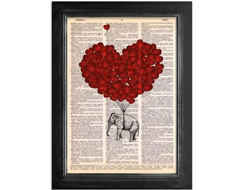Elephants Fly with Love Art - printed on Vintage Dictionary Paper - 8x10.5 - Dictionary Art Print