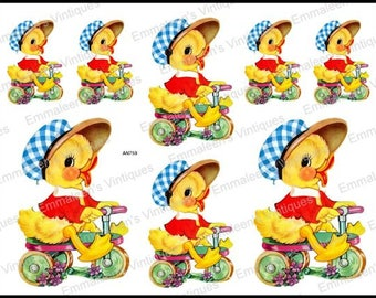 Vintage Shabby Nursery Easter Peep Chick On Scooter Waterslide Decals~ AN759