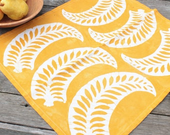 new pattern! fall yellow batik tea towel