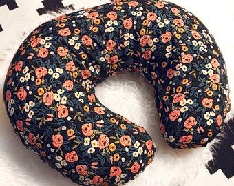 Boho Floral Boppy Cover, Flowers, Boppy Cover, Breastfeeding Pillow, Baby Girl, Nursing Pillow Cover, Boho Boppy Cover