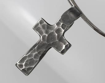 Steel CROSS Pendant NECKLACE, Christian cross, Handmade charm, Stainless steel amulet, metalwork, gift for him,present for her - CROSS dark
