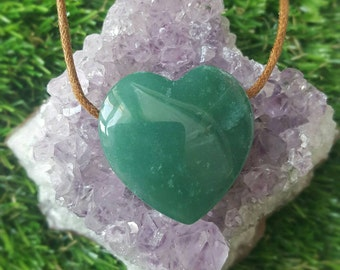 Green Aventurine Crystal Necklace, Green Aventurine Heart Necklace, Loveheart Neckace, Crystal Necklace, Gifts for Her