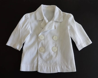 Vintage White Cotton Double Breasted Coat for Boy or Girl