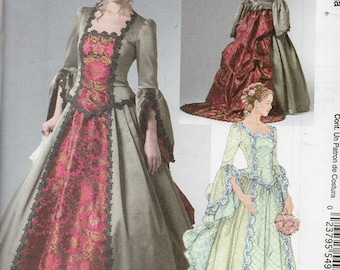 VICTORIAN BRIDAL McCall's Costume Pattern 6097 Train & Bustle Misses Sizes 14 16 18 20