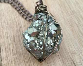Raw Stone Necklace - Raw Crystal Necklace - Pyrite Necklace - Raw Pyrite - Healing Crystal Necklace