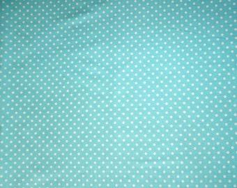 SALE - Fabric - Sevenberry - Aqua polka dot cotton print.