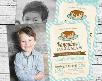 Pancakes and PJs Pajamas Birthday Photo Invitation in Blue PLUS Matching Thank You Note