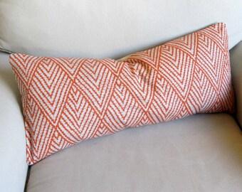 Ikat TANGERINE decorative designer lumbar bolster pillow 12x26 insert included