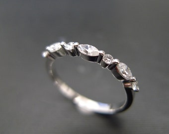 Marquise Wedding Ring in 14K White Gold, Marquise Diamond Ring, Diamond Wedding Band, Marquise Ring, Diamond Engagement Ring, Women Ring