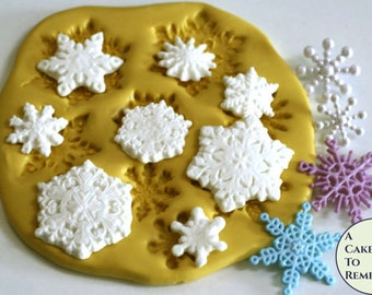 Snowflake mold for cake decorating, gumpaste snowflake mold, cake pops, cupcake decorating or polymer clay snowflakes. M017