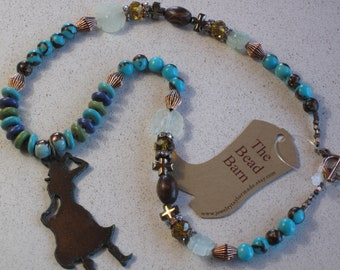 "NEW - Rusted Metal Cowgirl Pendant Necklace, Agate Prayer Beads, Crosses, Turquoise, Brown, 21-1/8"" Long"