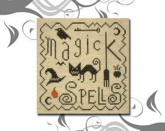 PDF E pattern emailed NEW Primitive Halloween Sampler Cross Stitch Pattern 44