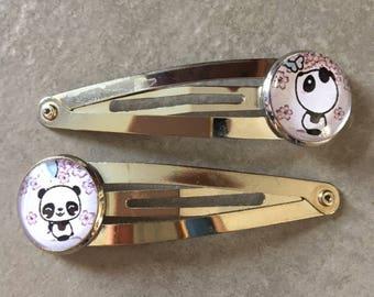 Kawaii Panda - 2 hair clips hair 16mm glass cabochon