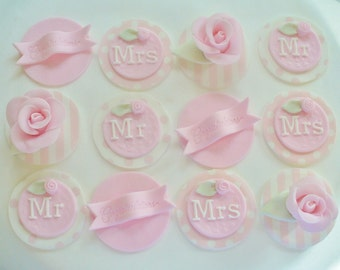 12 ROSES Mr and Mrs Edible Fondant Wedding Cupcake Toppers