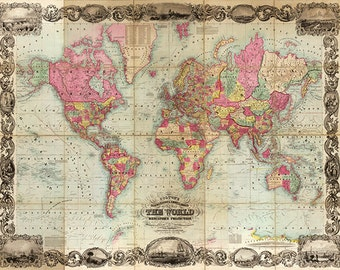World map Vintage Map print Antique map old prints map wall art old maps large map poster maps home decor wall map decor wall maps 24 x 36