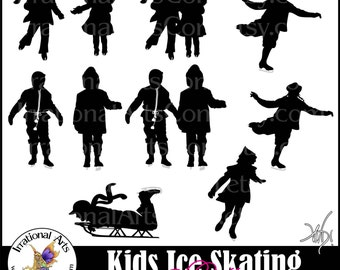 Ice Skating Kids Silhouettes 10 digital graphics png 300dpi clear backgrounds Vintage looking silhouettes sled skating skate snowflake paper