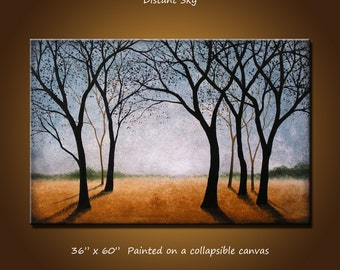 """Extra Large Wall Art Painting Landscape Trees Home Decor ... 36"""" x 60"""" ... 3 ft x 5 ft, """"Distant Sky"""", Free US shipping"""