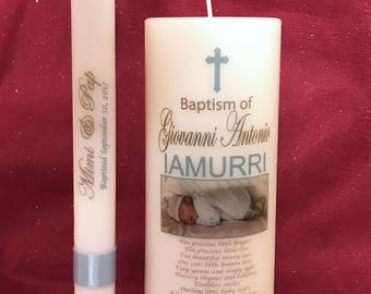 Personalized Baptismal Candles Set (9 inches Pillar & 10 inches Taper Candles) White candles