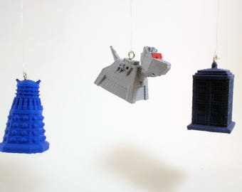 Dalek, K9, and Tardis Doctor Who Christmas Ornaments