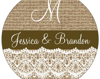 32 - 3 inch Glossy Personalized Burlap Wedding Stickers  hundreds of designs to choose from - change design to any color or wording WR-184