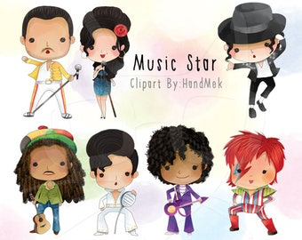 Cute music star, music legend Clipart, Instant Download PNG file - 300 dpi